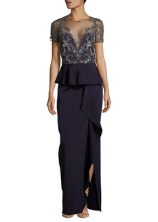 Marchesa Notte Embellished Column Gown