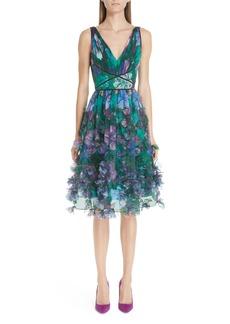 Marchesa Notte Embellished Floral Print Organza A-Line Dress