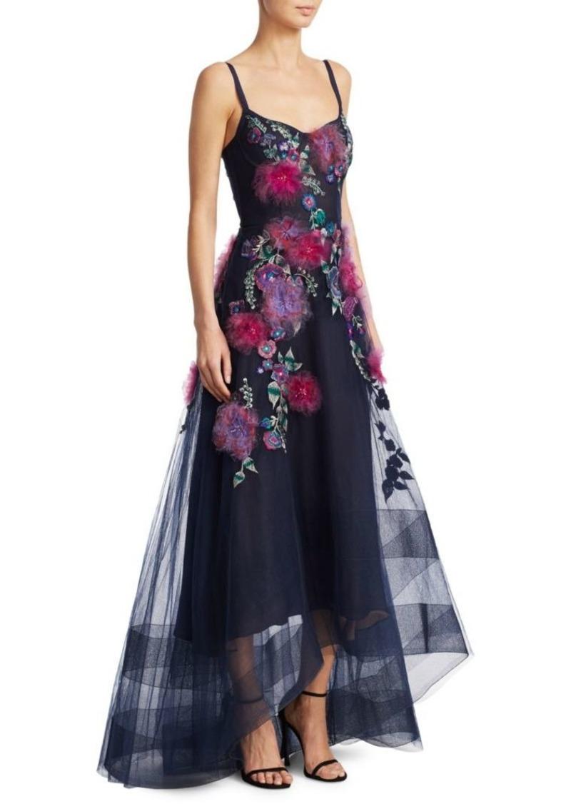 Marchesa Embellished Hi-Lo Corset Gown