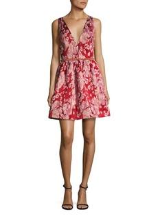 Marchesa Notte Embellished Jacquard Fit-&-Flare Dress