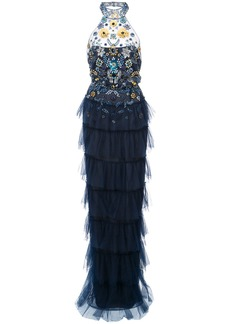 Marchesa Notte embellished tiered ruffled gown - Blue