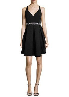 Marchesa Notte Embellished-Waist Tulip Cocktail Dress