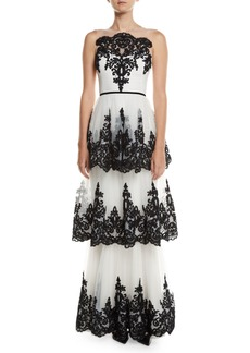 Marchesa Notte Embroidered 3-Tier Strapless Gown