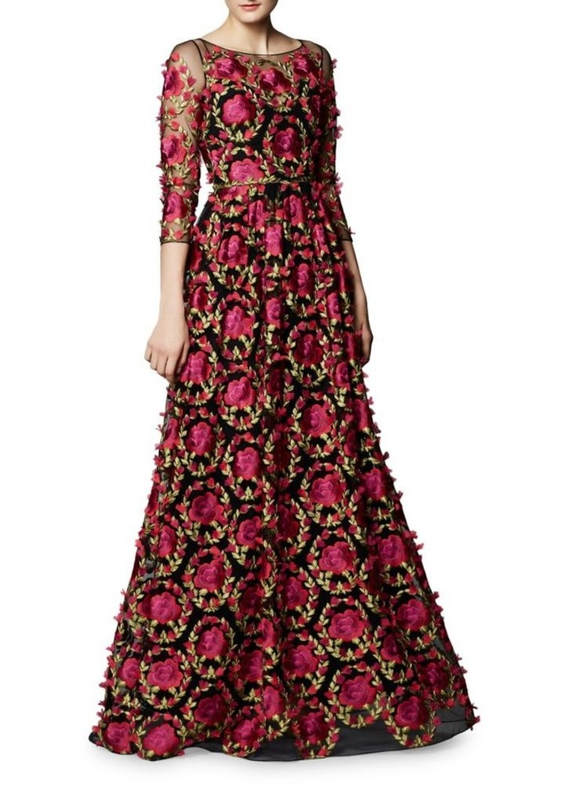 Marchesa Notte Floral Embroidered High-low Dress - Farfetch Jl2OWLYS