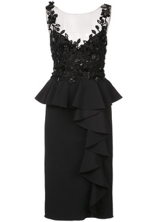 Marchesa Notte embroidered and frill detailed dress - Black
