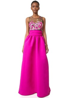 Marchesa Notte Embroidered Ball Gown with Pockets