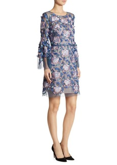 Marchesa Notte Embroidered Bell Sleeve Dress