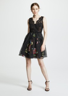 Marchesa Notte Embroidered Cocktail Dress with Lace Bodice
