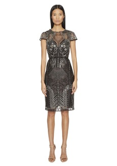 Marchesa Embroidered Cocktail w/ Cap Sleeves