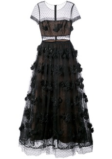 Marchesa Notte embroidered column gown - Black