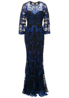 Marchesa Notte embroidered crocheted lace gown - Blue