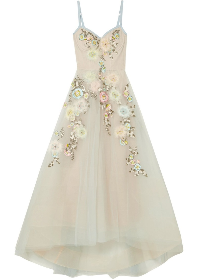 b33b2a99298 Marchesa Marchesa Notte Embroidered embellished tulle gown