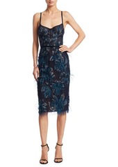 Marchesa Embroidered Feather Knee-Length Dress