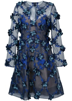 Marchesa Notte embroidered floral-appliquéd dress - Blue
