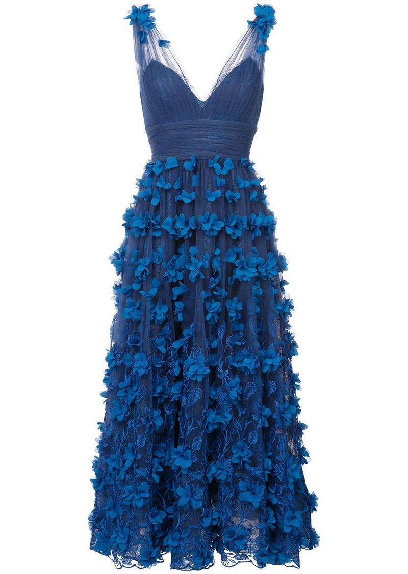 4a0ed16fb438d Marchesa Marchesa Notte embroidered floral-appliquéd gown - Blue ...
