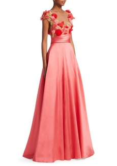 Marchesa Notte Embroidered Floral Cap-Sleeve Ball Gown