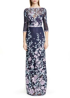 Marchesa Notte Embroidered Floral Sheath Gown