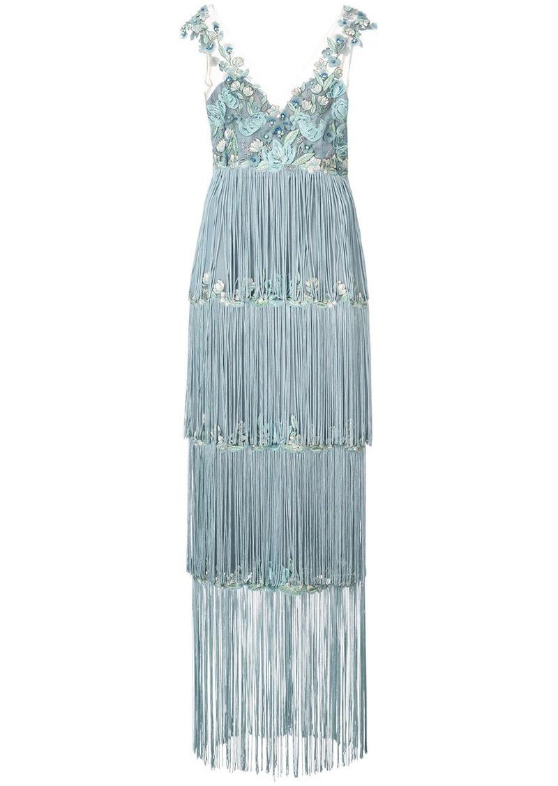 Marchesa embroidered fringe dress