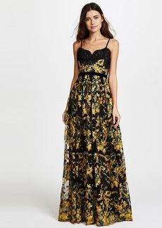 Marchesa Notte Embroidered Gown with Lace Bodice