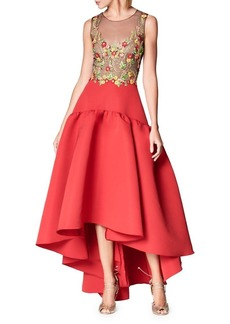 Marchesa Notte Embroidered Hi-Lo Ball Gown