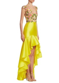 Marchesa Notte Embroidered Hi-Lo Dress