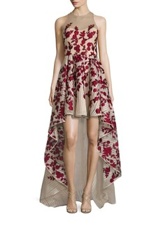 Marchesa Notte Embroidered Hi-Lo Gown