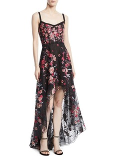 Marchesa Embroidered High-Low Flocked Tulle Gown