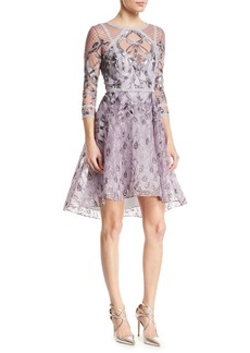 Marchesa Embroidered High-Low Metallic-Trim Cocktail Dress