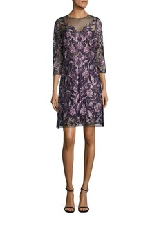 Marchesa Notte Embroidered Illusion Neck Dress