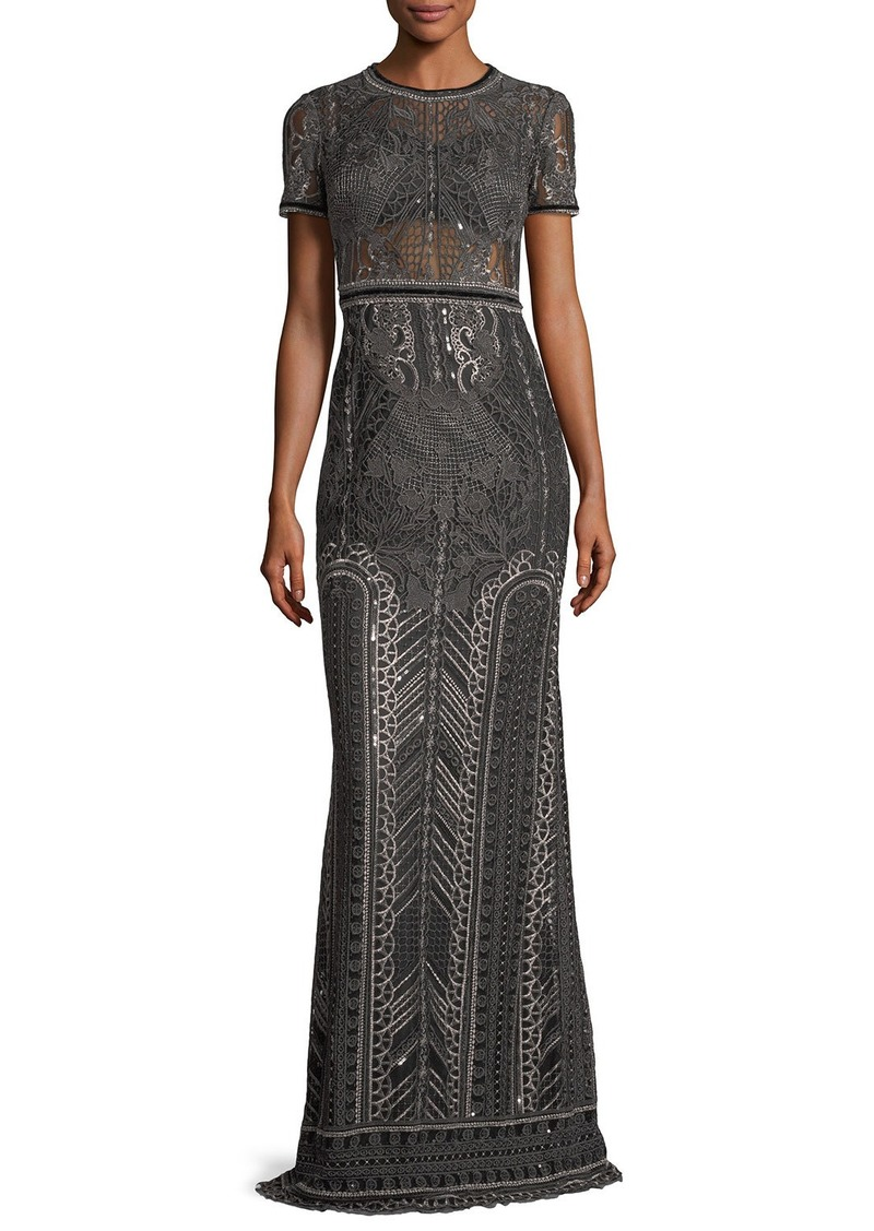 a529a912 Marchesa Marchesa Notte Embroidered Lace Cap-sleeve Column Evening ...
