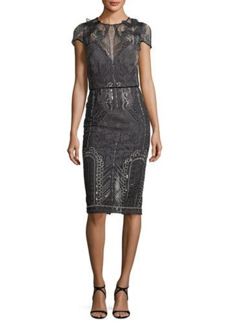 8dbefbfd SALE! Marchesa Embroidered Lace Cap-Sleeve Sheath Cocktail Dress