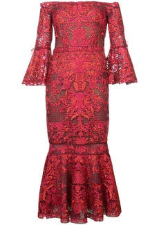 Marchesa Notte embroidered lace off the shoulder dress - Unavailable