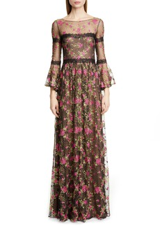 Marchesa Notte Embroidered Long Sleeve Gown