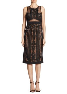 Marchesa Notte Embroidered Mesh Lace Dress