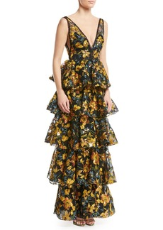 Marchesa Notte Embroidered Multitiered V-Neck Gown