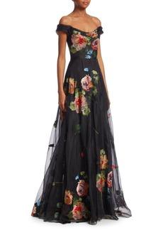 Marchesa Embroidered Organza Gown