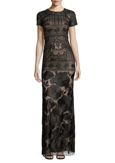 Marchesa Notte Embroidered Overlay Gown
