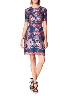 Marchesa Notte Embroidered Roundneck Fit-&-Flare Dress