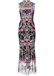 Marchesa embroidered shift maxi dress