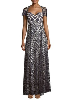 Marchesa Notte Embroidered Short-Sleeve Gown