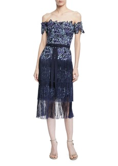 Marchesa Embroidered Strapless Fringe Cocktail Dress