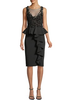 Marchesa Notte Embroidered Stretch Faille Cocktail Dress w/ 3D Beading