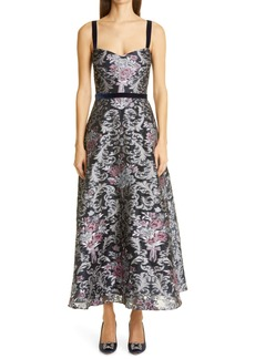 Marchesa Notte Embroidered Sweetheart Midi Cocktail Dress