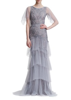 Marchesa Notte Embroidered Tiered Tulle Gown