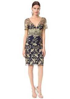 Marchesa Notte Embroidered Tulle Dress