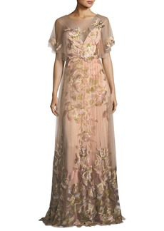 Marchesa Notte Embroidered Tulle Flutter Sleeve Evening Gown
