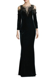 Marchesa Notte Embroidered Velvet Illusion Column Gown
