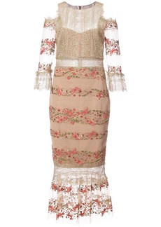 Marchesa Notte embroidery and lace midi dress - Yellow & Orange