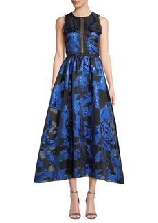 Marchesa Notte Fil Coupe & Lace Cutout Dress