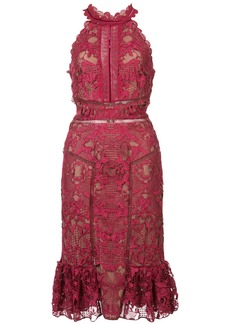 Marchesa Notte fitted lace dress - Pink & Purple